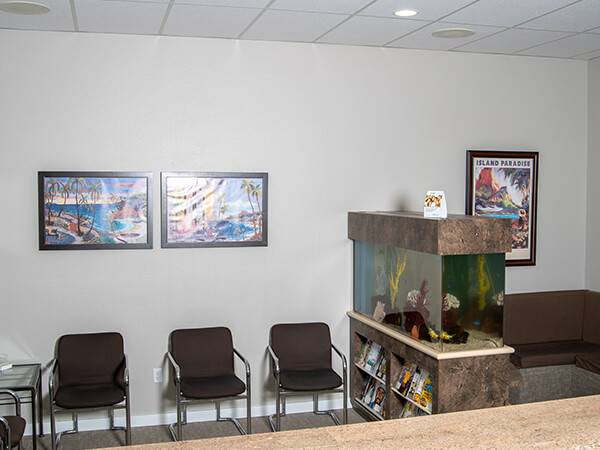View from the front desk of our modern office with a fish tank in the waiting area